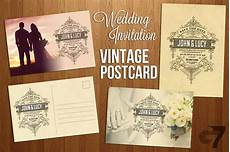 invitation card template vintage wedding invitation vintage postcard wedding templates
