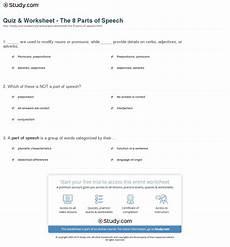 quiz worksheet the 8 parts of speech study com