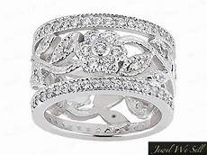 2 25ct round diamond wide flower eternity band wedding ring 950 platinum g si1 ebay