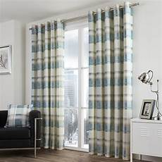 Check Striped Grommet Lined 2 Eyelet Curtain Panels