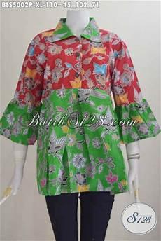 jual baju blus warna merah kombinasi hijau nan trendy produk pakaian batik keren kerah