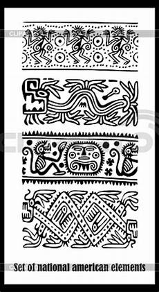 Indianische Muster Malvorlagen Englisch Set Nationale Amerikanische Indianer Muster Stock