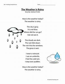 reading comprehension worksheet weather is rainy