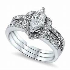sterling silver s pave cz wrapped marquise cut wedding ring ebay