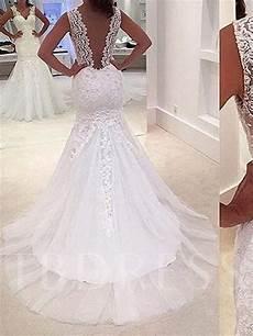 deep v neck appliques mermaid wedding dress tbdress com
