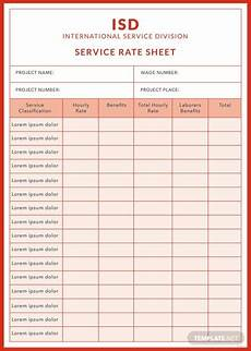 free rate sheet templates download ready made template net