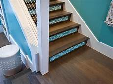 Geflieste Treppe Renovieren - wood and blue glass tile staircase with modern railing hgtv