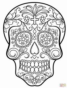 Ausmalbilder Erwachsene Totenkopf Sugar Skull Coloring Page Free Printable Coloring Pages