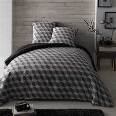 parure de lit 240 x 260 cm en coton blanche grise cubic