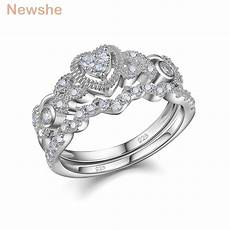 newshe heart shape wedding ring sets engagement band classic fashion jewelry for gift size