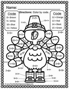 color by numbers thanksgiving math addition facts math colors and thanksgiving