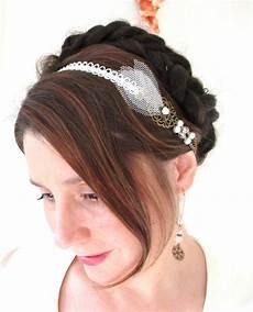 Headband Mariage Dentelle Au Crochet Tulle Perles Nacr 233 Es