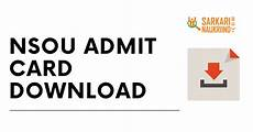 ns9uo nsou admit card 2020 part 1 2 3 dca and