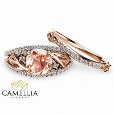 floral morganite engagement ring 14k rose gold engagement rings un camellia jewelry