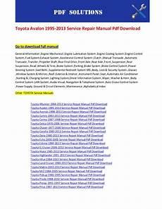 download car manuals pdf free 2008 toyota avalon head up display toyota avalon 1995 2013 service repair manual pdf download