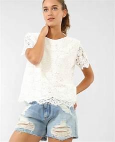 t shirt en t shirt en dentelle blanc cass 233 403795912a09 pimkie