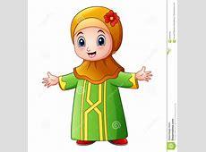 A Cute Muslim Girl Cartoon Illustration Vector