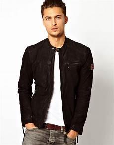 pepe pepe leather biker jacket gig slim fit in black