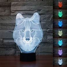 3d animal wolf decor night light 7 color change led desk table l toy xmasgift ebay
