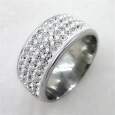 titanium swarovski crystal stainless steel ring engagement wedding size 7 10 ebay