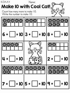 make 10 with cool cat gt gt part of the cool cats in kindergarten math literacy worksheets packet