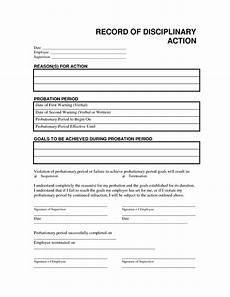 record disciplinary action free office form template by employee handbook templates school