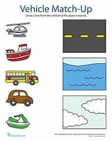 transportation match up worksheet education com