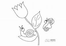 Malvorlage Schnecke Einfach Schnecke Auf Tulpe Nadines Ausmalbilder