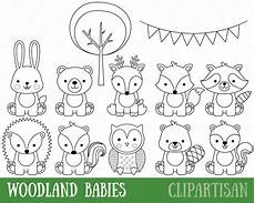 woodland animals coloring pages 17187 woodland animals digital sts baby animal digital st