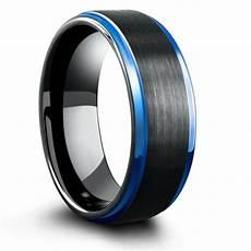 mens wedding rings black 8mm blue black mens tungsten wedding band with step down edges northern royal llc