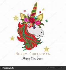 magical unicorn merry christmas happy new year greeting card stock vector 169 gulsengunel 226253572