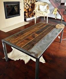 Industrial Vintage Handmade Steel Pine Coffee Table