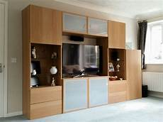 Ikea Besta Storage System Including Tv Cabinet Oak