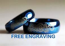 top quality tungsten carbide his hers deep ocean blue