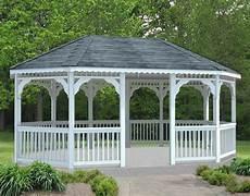 vinyl single roof 8 sided oval gazebos gazebos by material gazebocreations com