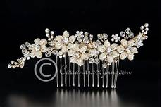 gold bridal hair comb of seed bead flowers and crystals wedding gown accessories bridal hair