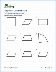 grade 6 geometry worksheets classifying quadrilaterals k5 learning