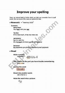 spelling improvement worksheets 22426 improve your spelling esl worksheet by suzannesavage
