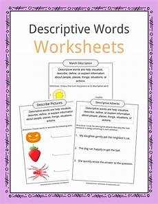 descriptive sentences worksheet descriptive words exles definition worksheets for kids