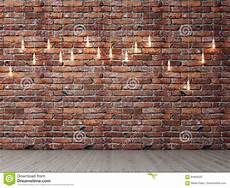 brick empty wall with light bulbs background stock illustration image 84969593