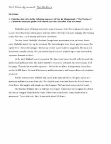 verb tense agreement quot the necklace quot worksheet for 6th