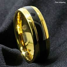 8mm black dome 18k gold tungsten ring wedding band bridal atop mens jewelry ebay