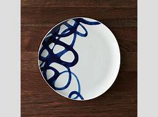 Como Blue and White Dinner Plate   Crate and Barrel