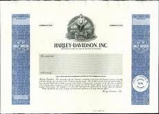Harley Davidson Certification by Harley Davidson Inc Stock Certificate Proof