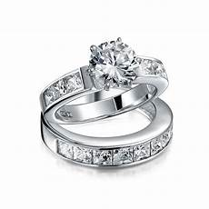 2ct princess cut 925 sterling silver colorless cubic zirconia engagement cz