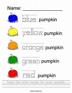 colors tracing worksheets 12820 trace the color names for each pumpkin worksheet twisty noodle