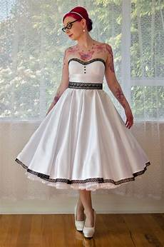 vintage tea length black and white short wedding dresses