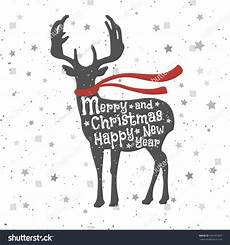 christmas deer merry christmas happy new stock vector 334167920