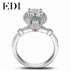 aliexpress com buy edi unique crown 10k white gold simulated diamond engagement rings for