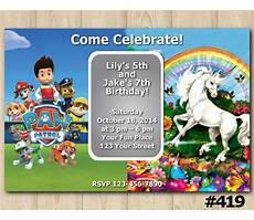 Malvorlagen Paw Patrol Unicorn Paw Patrol And Unicorn Birthday Invitation Joint